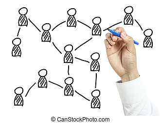 Businessman drawing social network concept - Businessman is...