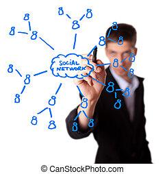 man drawing social network plan on whiteboard