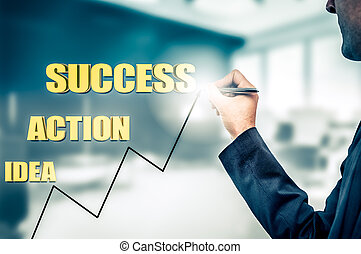 Businessman drawing the concept of business development from idea to success. Growth statistics