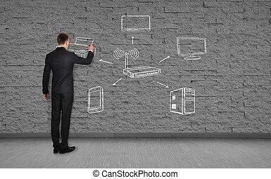 businessman drawing wi-fi scheme on brick wall
