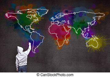 businessman drawing world map - businessman drawing large...