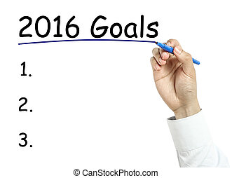 Businessman drawing year2016 goals concept