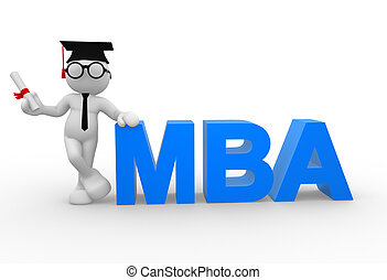 Businessman - 3d people - man, person with a diploma and MBA...