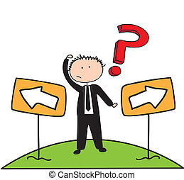 businessman with question mark, drawing. vector illustration