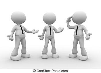 Businessman - 3d people - men, person talking in group
