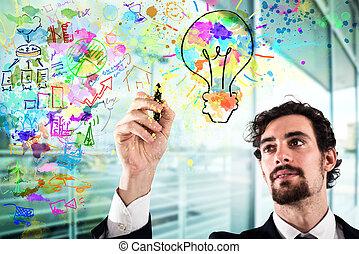 Businessman draws a creative business project