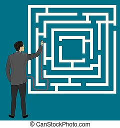 Businessman draws a path to success in the maze