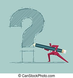 Businessman draws a question mark. Isolated on blue background.