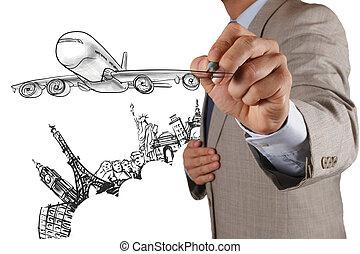 businessman draws airplane travel around the world