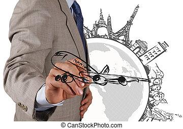 businessman draws dream travel around the world -...