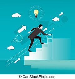 Businessman draws stairs and walking up. Business concept vector illustration. Reaching goal. Growth to success