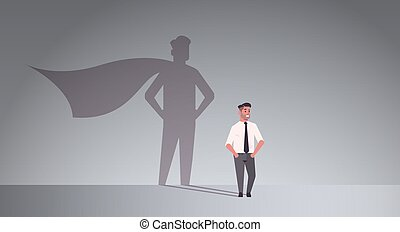 businessman dreaming about being super hero shadow of man with cape imagination aspiration concept male cartoon character standing pose full length flat horizontal