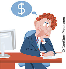 Businessman dreaming about more success money.Vector...