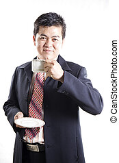 Businessman drink the coffee