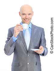 Businessman, drinking coffee.