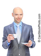 Businessman, drinking coffee. Isol