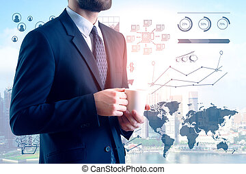 Finance and analytics concept - Businessman drinking coffee ...