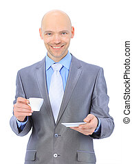Businessman, drinking coffee.