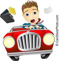 Businessman driving car fast - A cartoon businessman, scared...