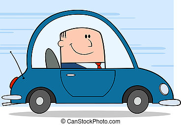 Businessman Driving Car To Work Cartoon Character On...