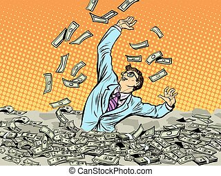Businessman drowning in money pop art retro style. business concept the dangers of wealth. Greed and financial stupidity