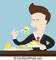 businessman eat money bill and coin