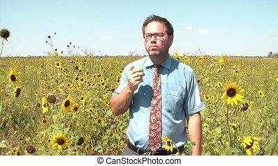 Businessman Eating Food in Sunflower Field
