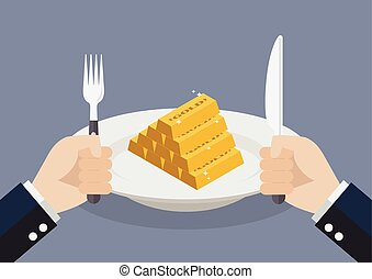 Businessman eating gold ingots