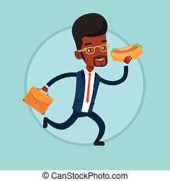Businessman eating hot dog on the run.