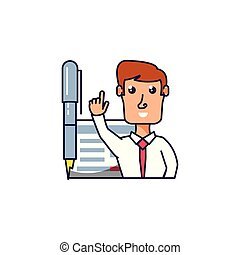 businessman elegant with pen and document