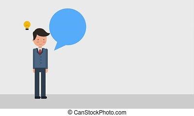 businessman employee creativity idea bulb speech bubble...