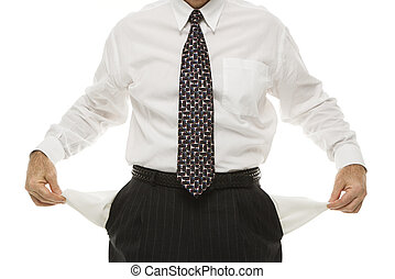 Businessman empty pockets. - Caucasian middle-aged...