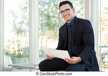 Businessman enjoying his work