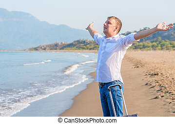 businessman enjoying the freedom of the island