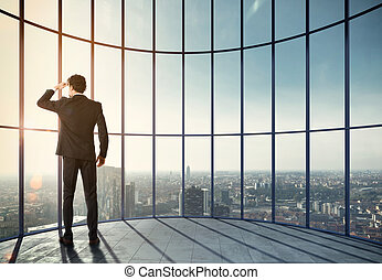 Businessman enjoys his professional success. Mixed media