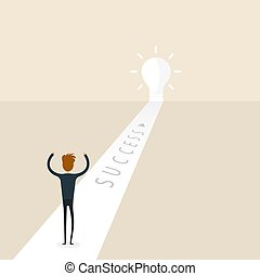 Businessman entering an open door. Businessman looking at the large light bulb symbol. Way of success. Concept for Achievement, Accomplish or Success. Big light bulb on the way. Vector illustration