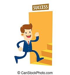 Businessman Entering The Door To Success