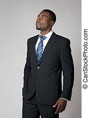 Businessman envisioning the future - African American...