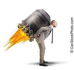 Businessman escape - Determined businessman holding on to a...