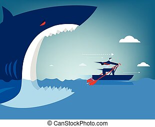 Businessman escape on the shark