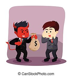 businessman evil offering money to