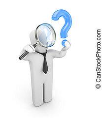 Businessman examines question