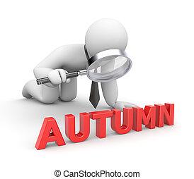 Businessman examines something word Autumn