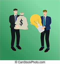 Businessman exchange big idea and money bag