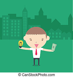 businessman exchange idea and money conceptual cartoon drawing.