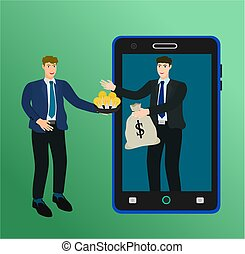 Businessman exchange idea and money with smartphone