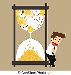businessman exchange knowledge and time to money