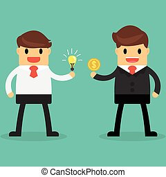 Businessman exchange light bulb idea and money. Business idea concept. Business concept.