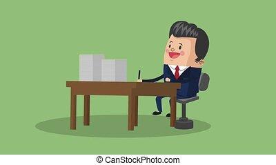 Businessman executive cartoon HD animation