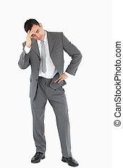 Businessman experiencing a setback